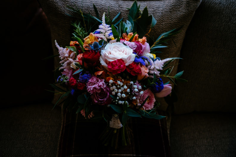 bride's bouquet on a chair
