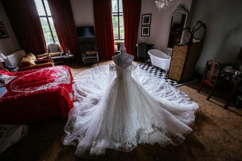 huge wedding dress displayed in room