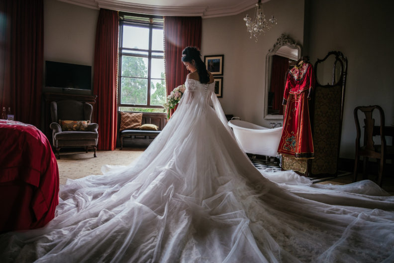 Chinese bride in her wedding dress at markree castle