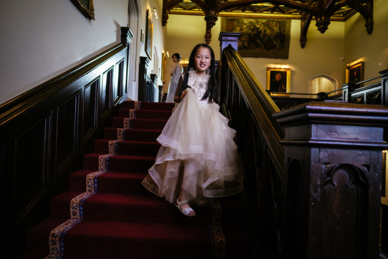 little girl walking down stairs at markree castle