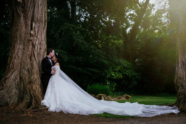 bride and groom kissing by a tree in markree castle