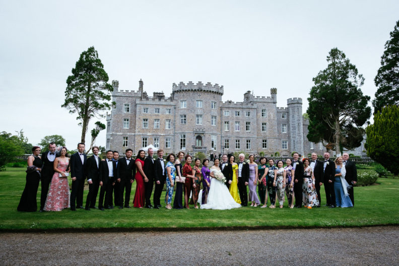 a long row of wedding guests at markree castle