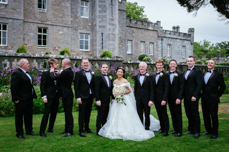 bridal party standing in garden at markree castle