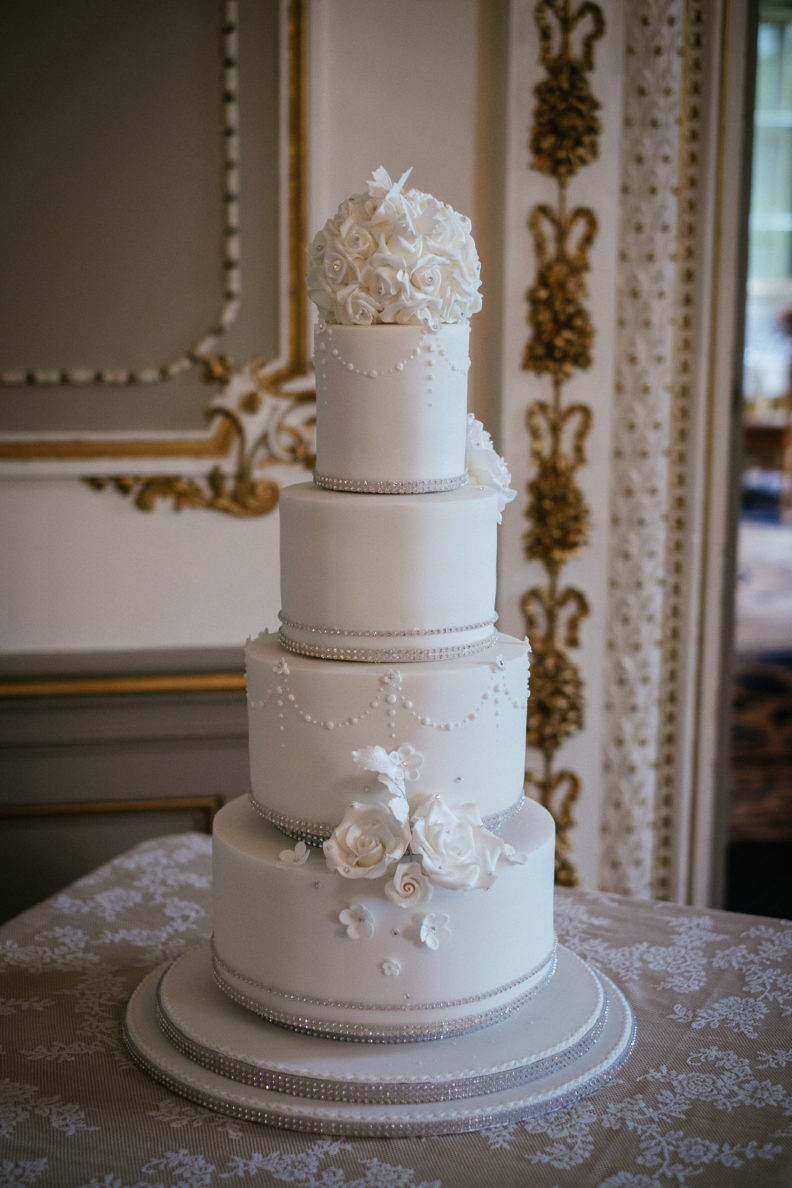 wedding cake in reception room at markree castle
