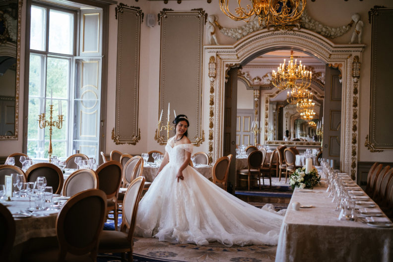 bride standing in reception room at markree castle