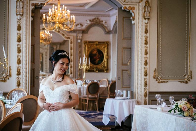 bride in reception room at markree castle