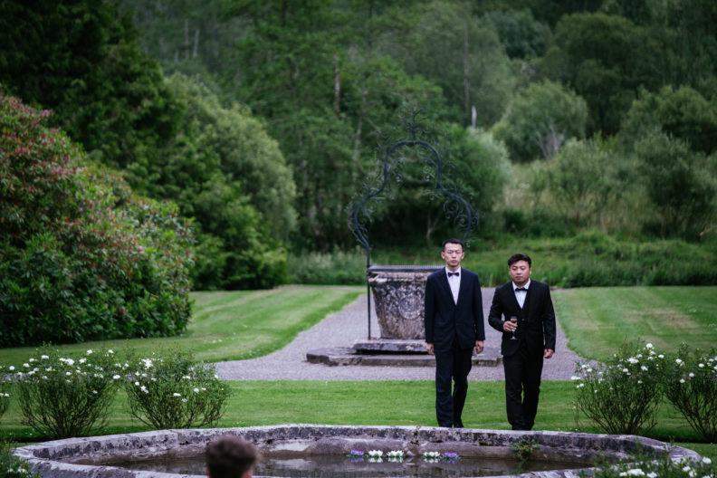 wedding guests walking