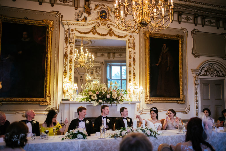 bridal party sitting during dinner at markree castle wedding