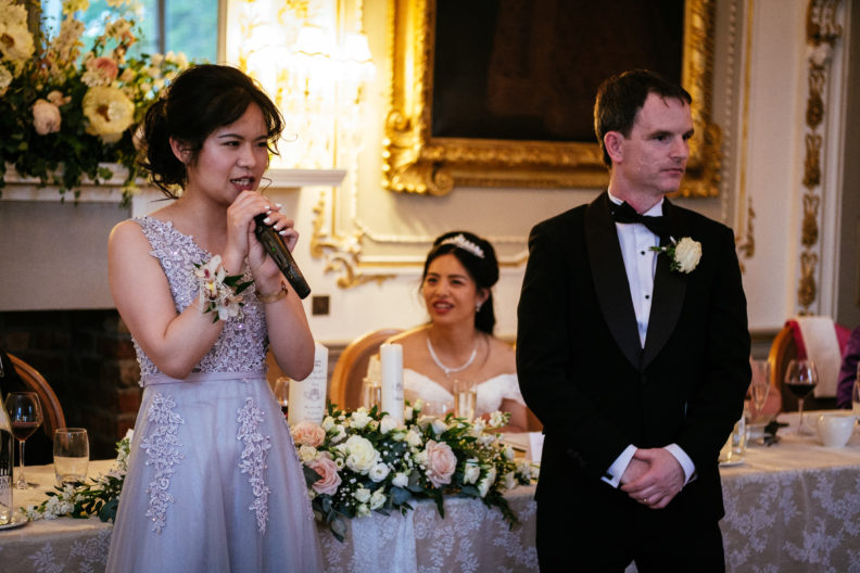 Chinese bridesmaid translating speeches at markree castle wedding