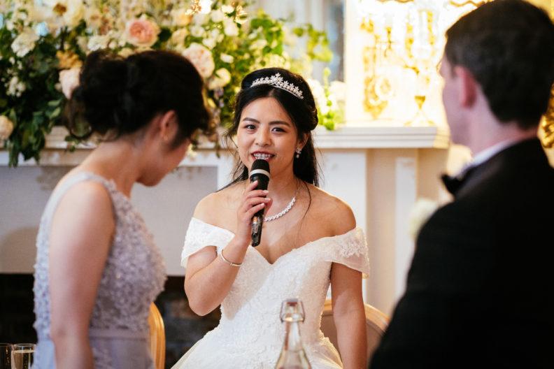 bride making a speech