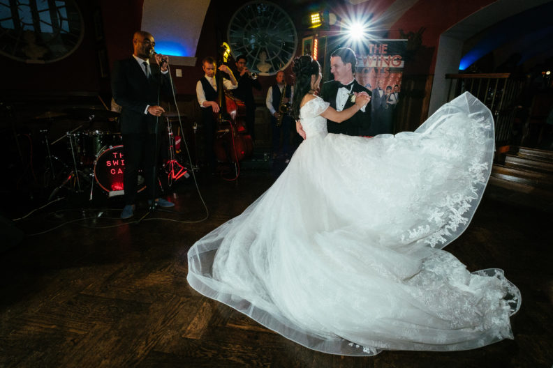 bride with huge wedding dress and groom dancing at markree castle