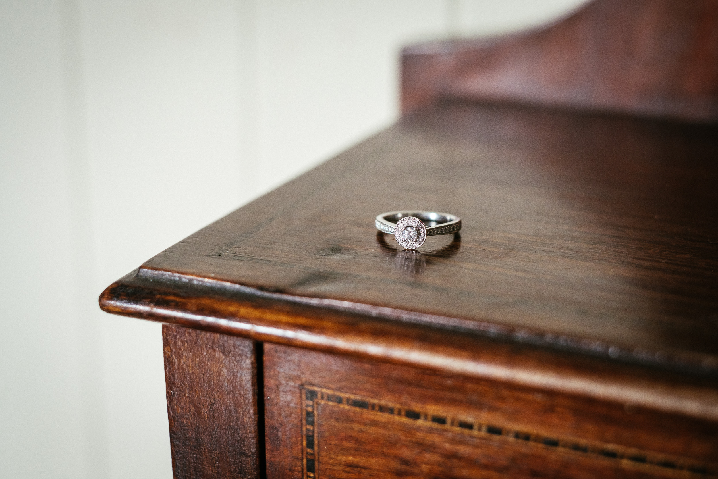 engagement ring on dressing table