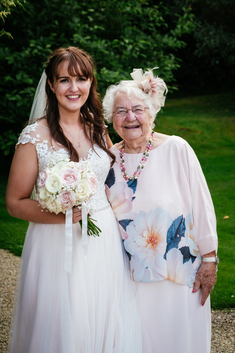 bride and her grandmother at ballybeg house wicklow