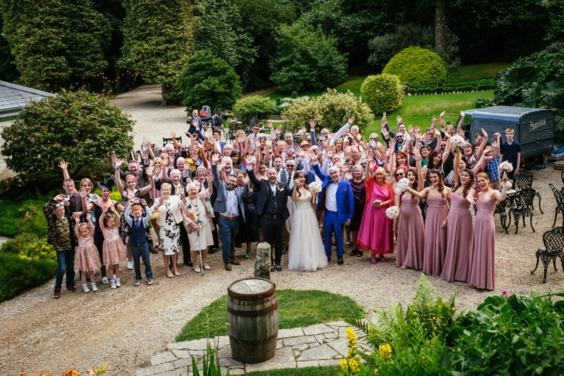 group photo of wedding guests at ballybeg house wicklow