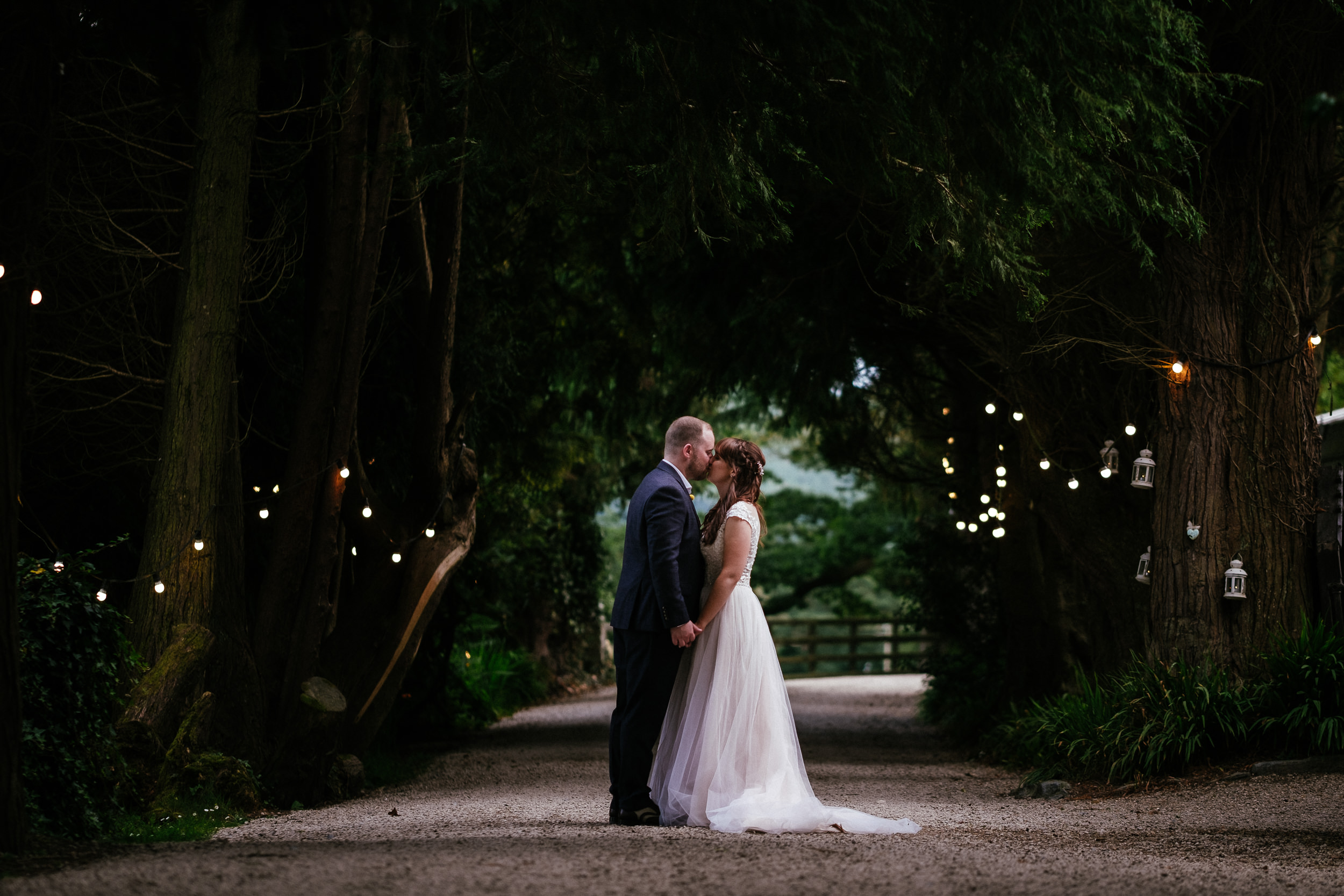 bride and groom kissing at ballybeg house wicklow