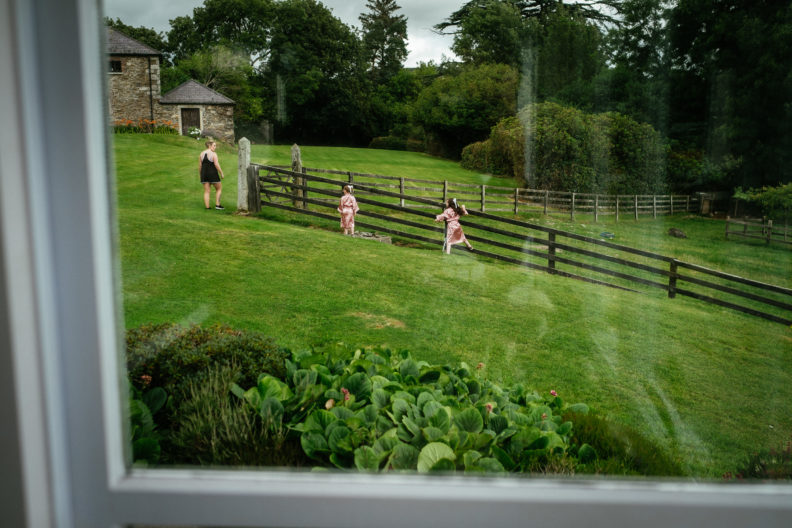 kids running in garden at ballybeg house