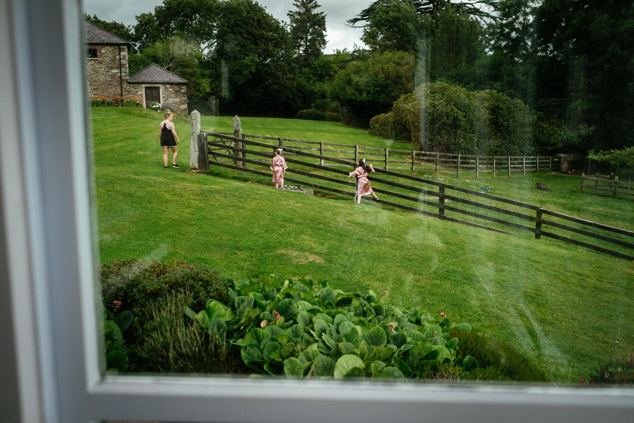 kids running in garden at ballybeg house