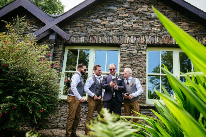 groom with his groomsmen outside grouse lodge wicklow
