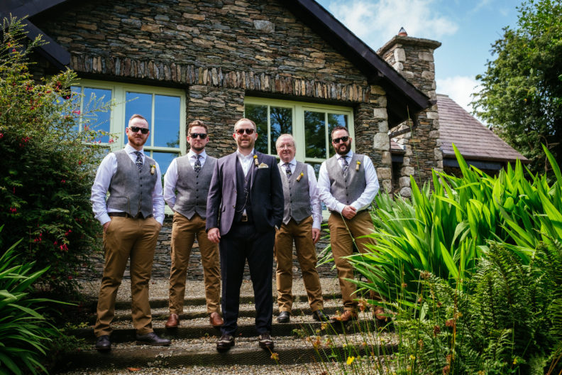 groom and his groomsmen outside grouse lodge wicklow
