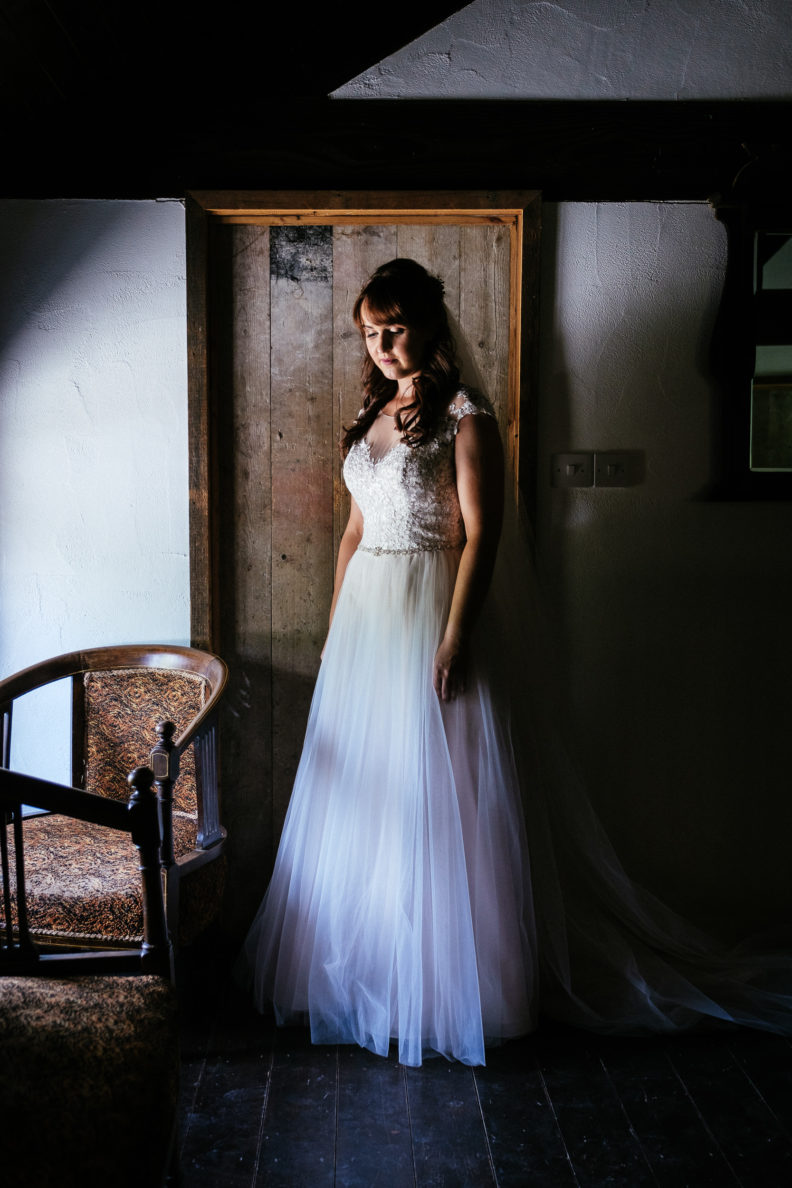 bride standing by door at ballybeg house