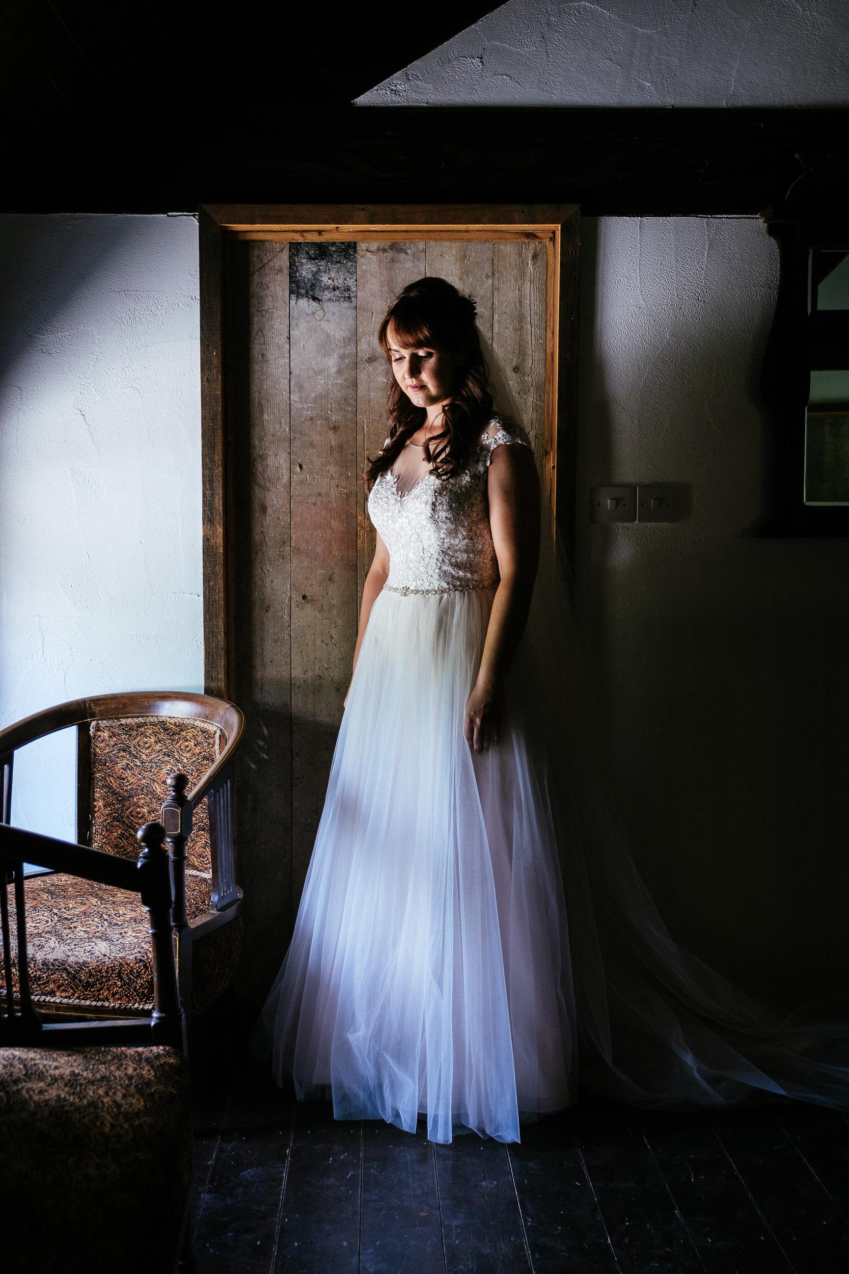 bride standing by door at ballybeg house