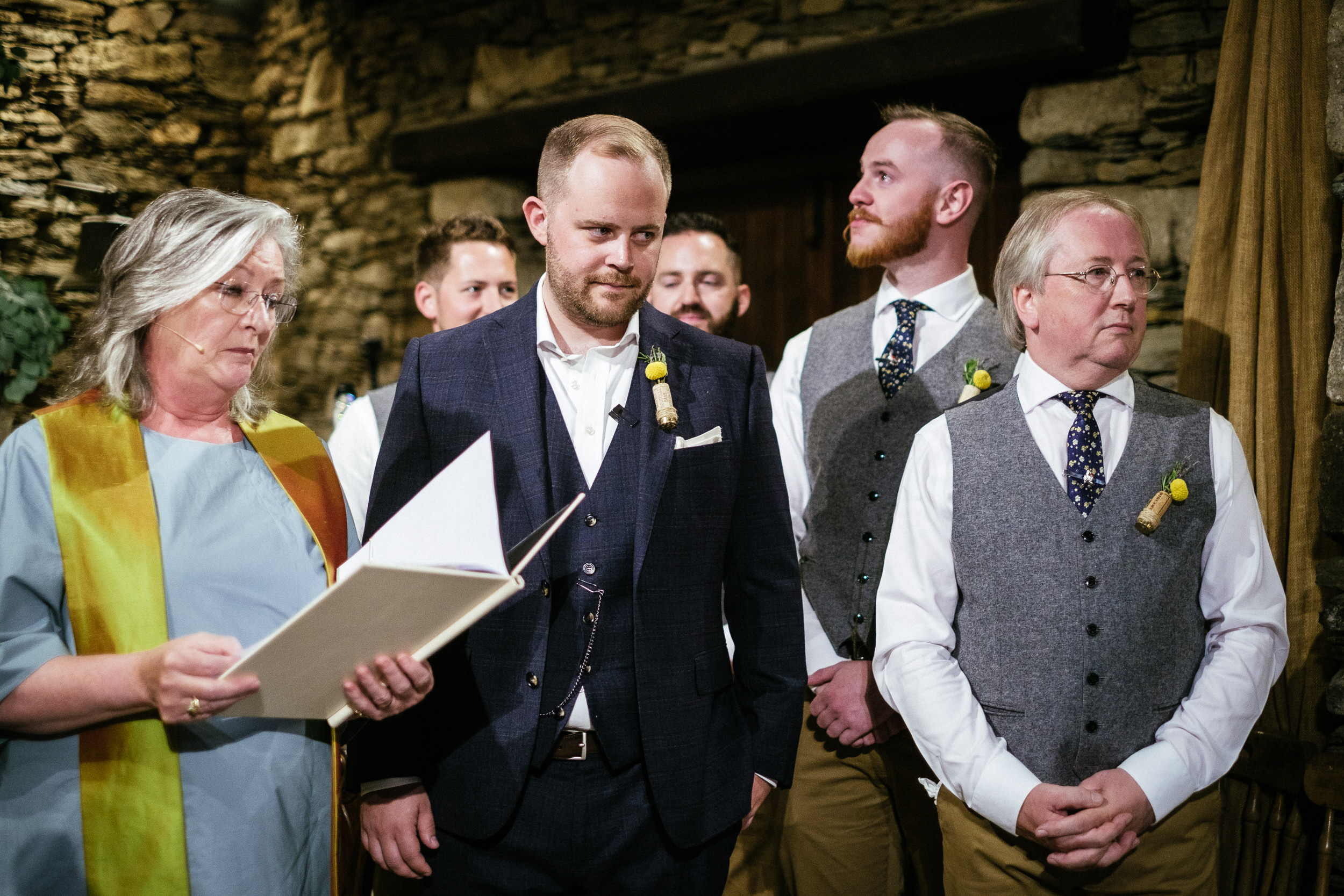 groom waiting fro bride in the barn at ballybeg house