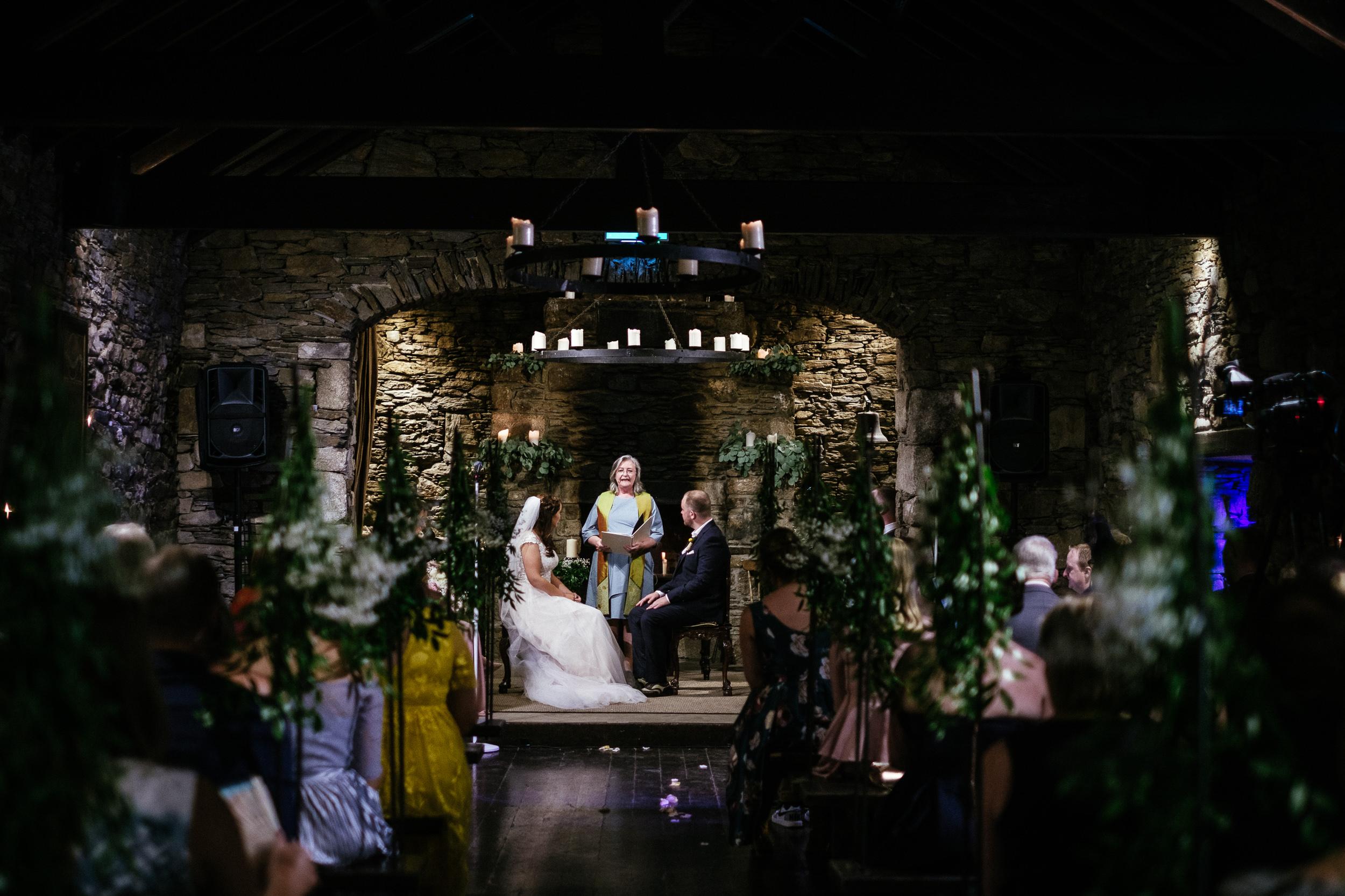wedding ceremony in the barn at ballybeg house