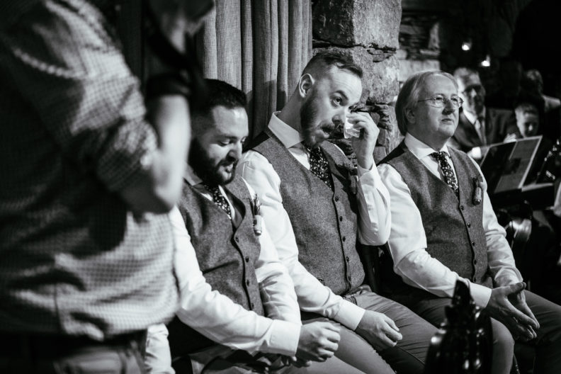 groomsman crying during wedding ceremony at ballybeg house