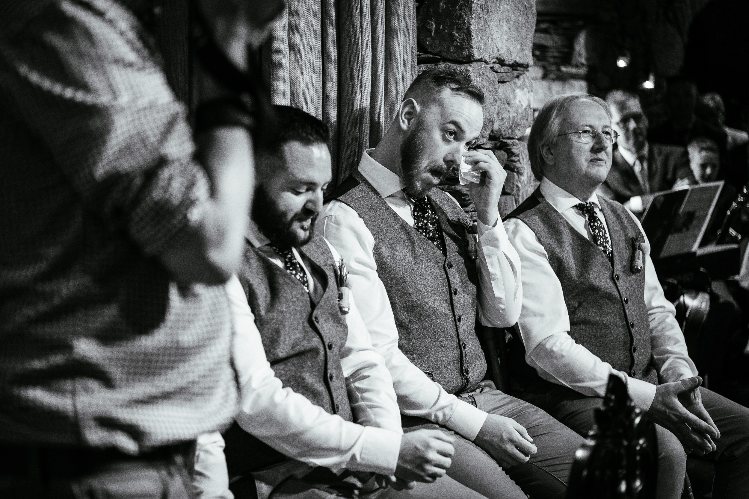 groomsman crying during wedding ceremony at ballybeg house