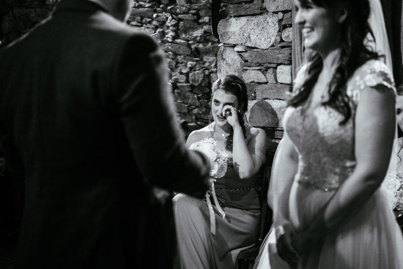 bridesmaid crying during wedding ceremony at ballybeg house