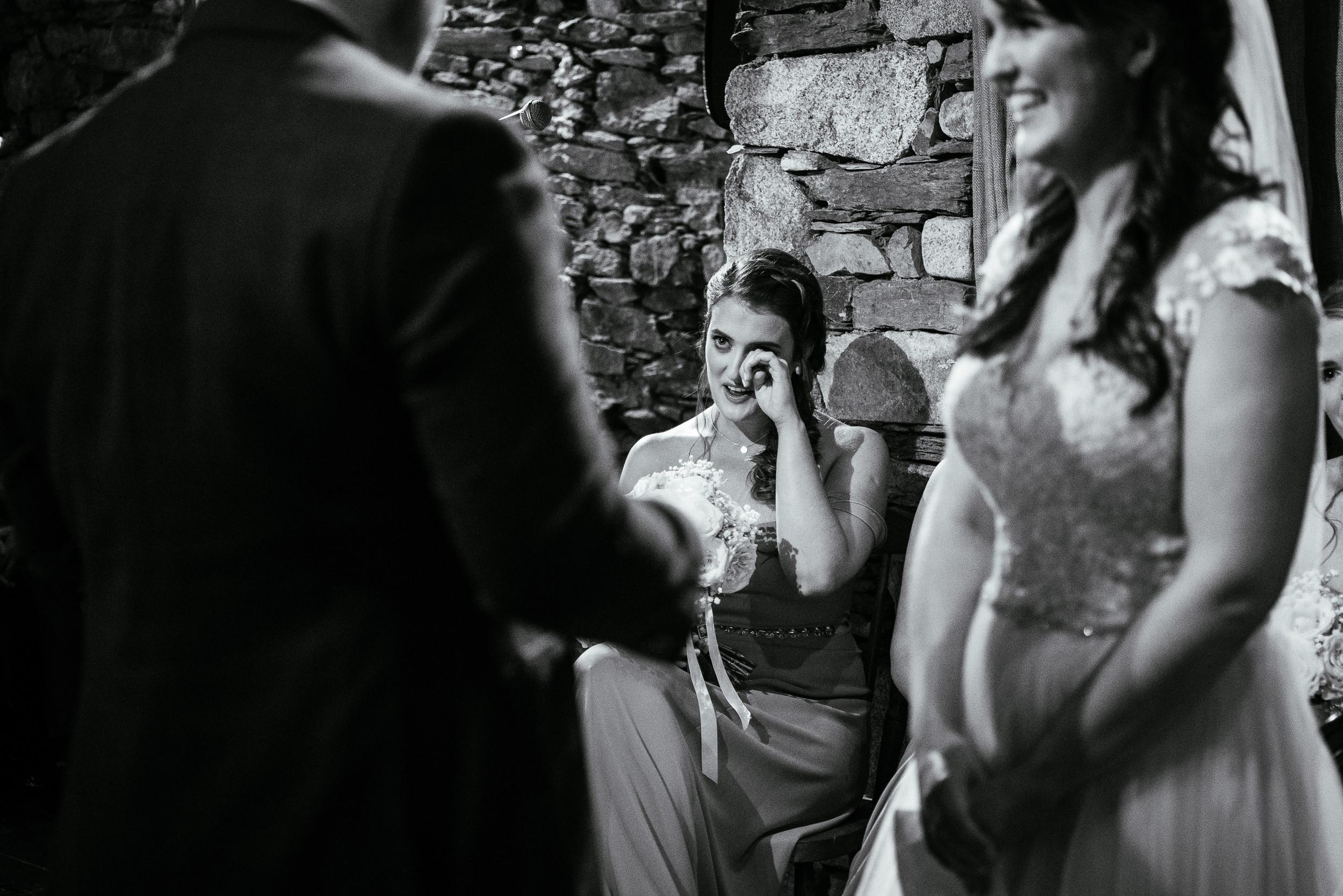 bridesmaid crying during wedding ceremony at ballybeg house