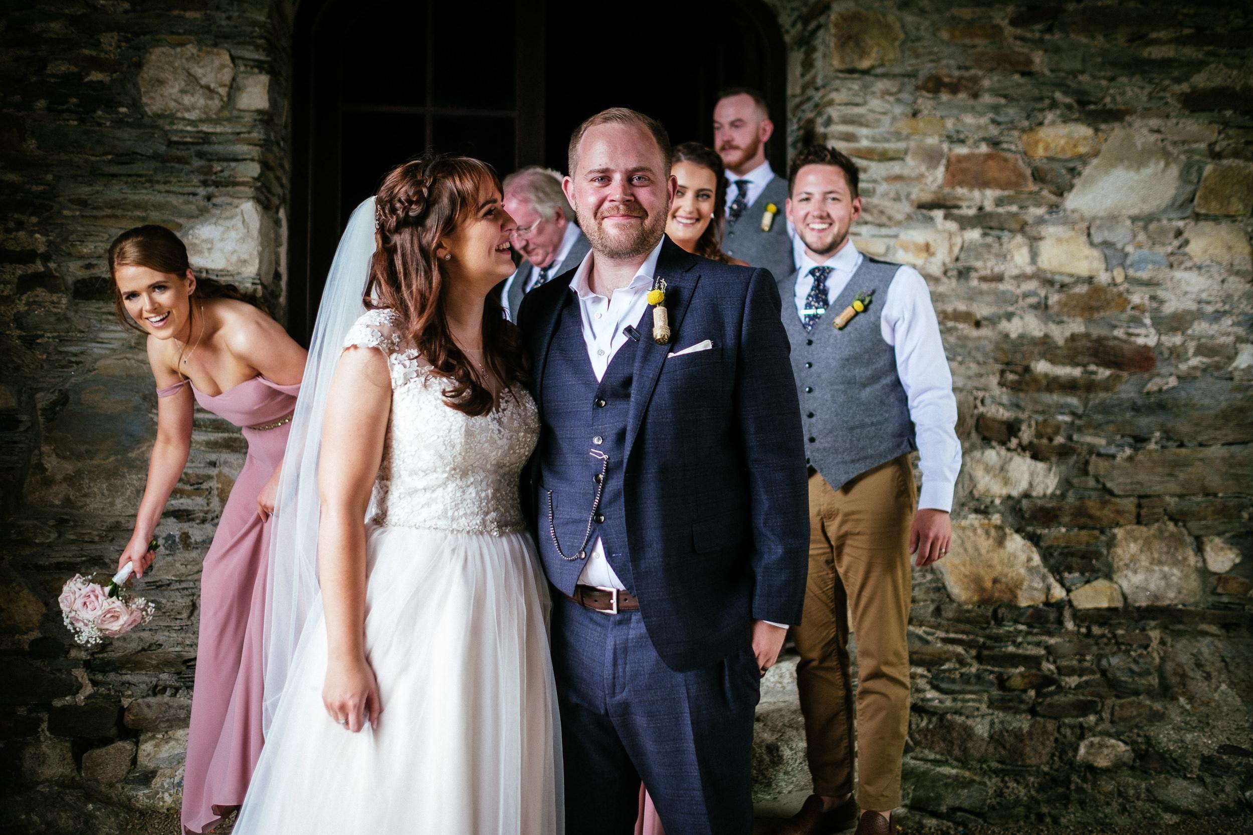 bride and groom outside barn at ballybeg house