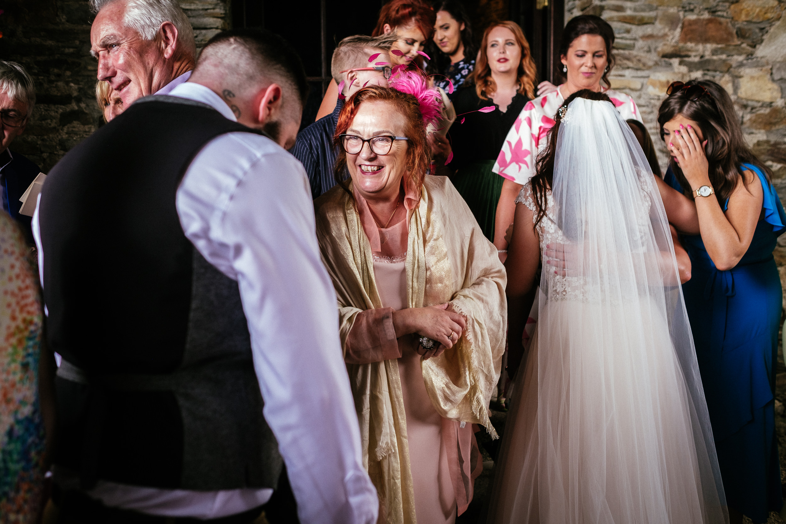wedding guests chatting at ballybeg house