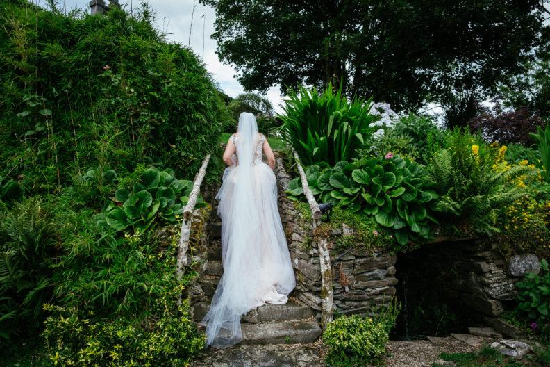 bride walking up steps