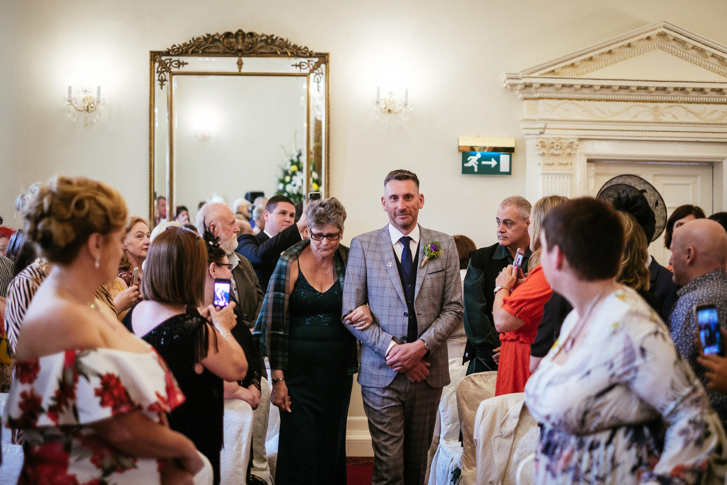 groom walking up aisle at dunboyne castle