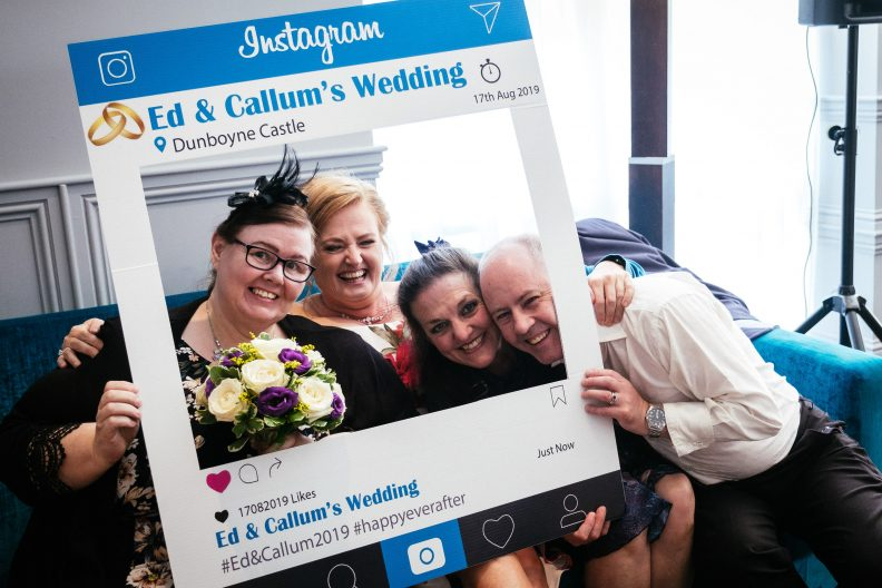 wedding guests posing for instagram photos