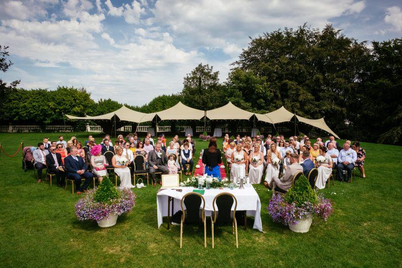 wedding ceremony in hotel garden