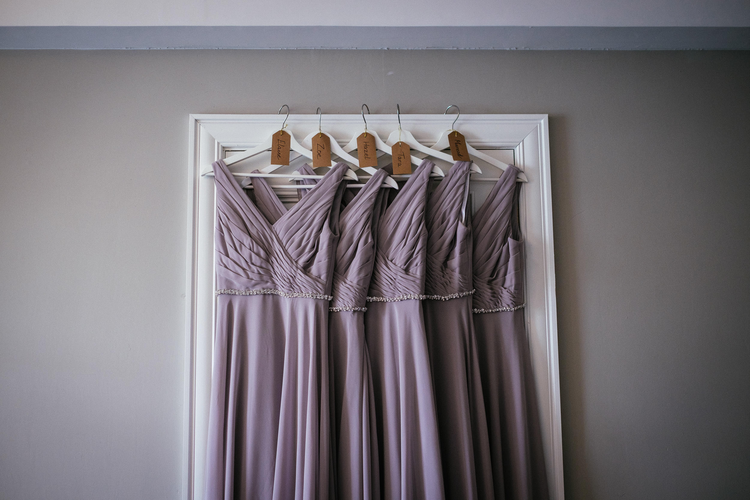 bridesmaids dress hanging at Johnstown House estate