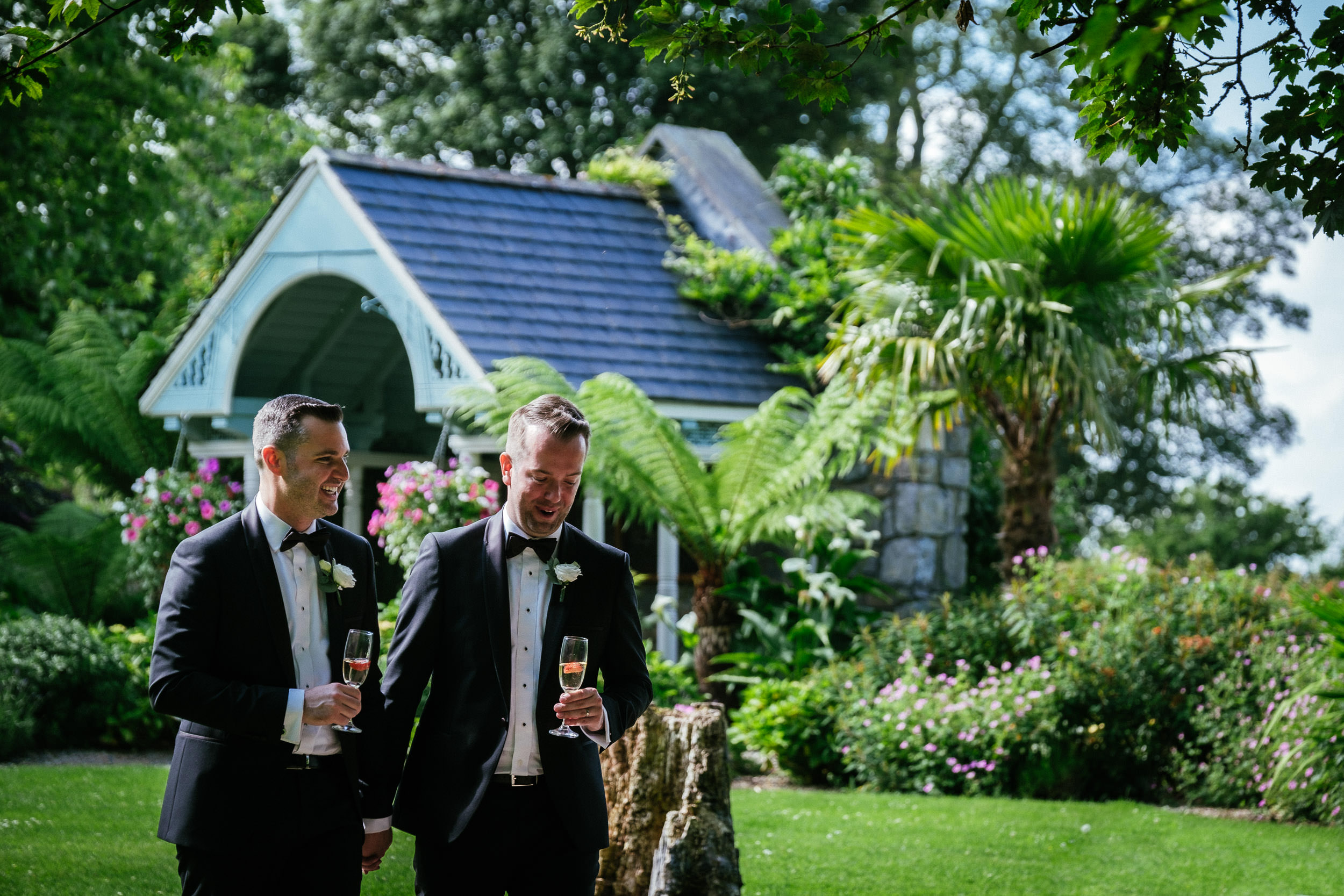 grooms walking at Johnstown House estate