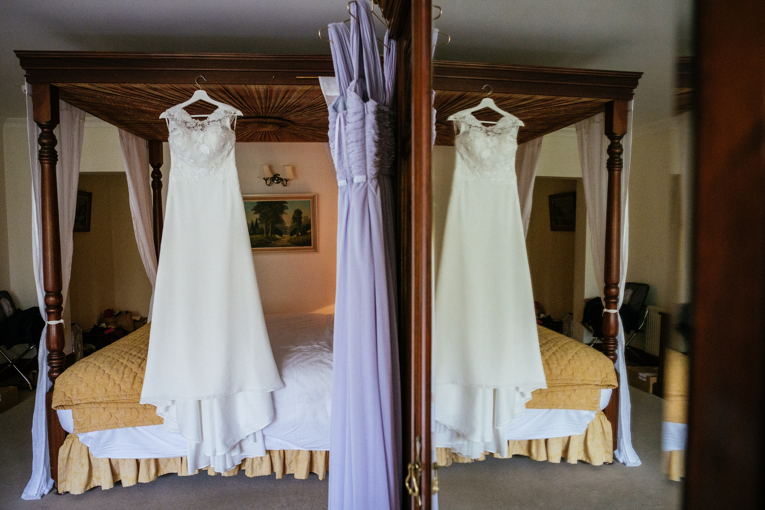 wedding dress hanging at tinakilly house