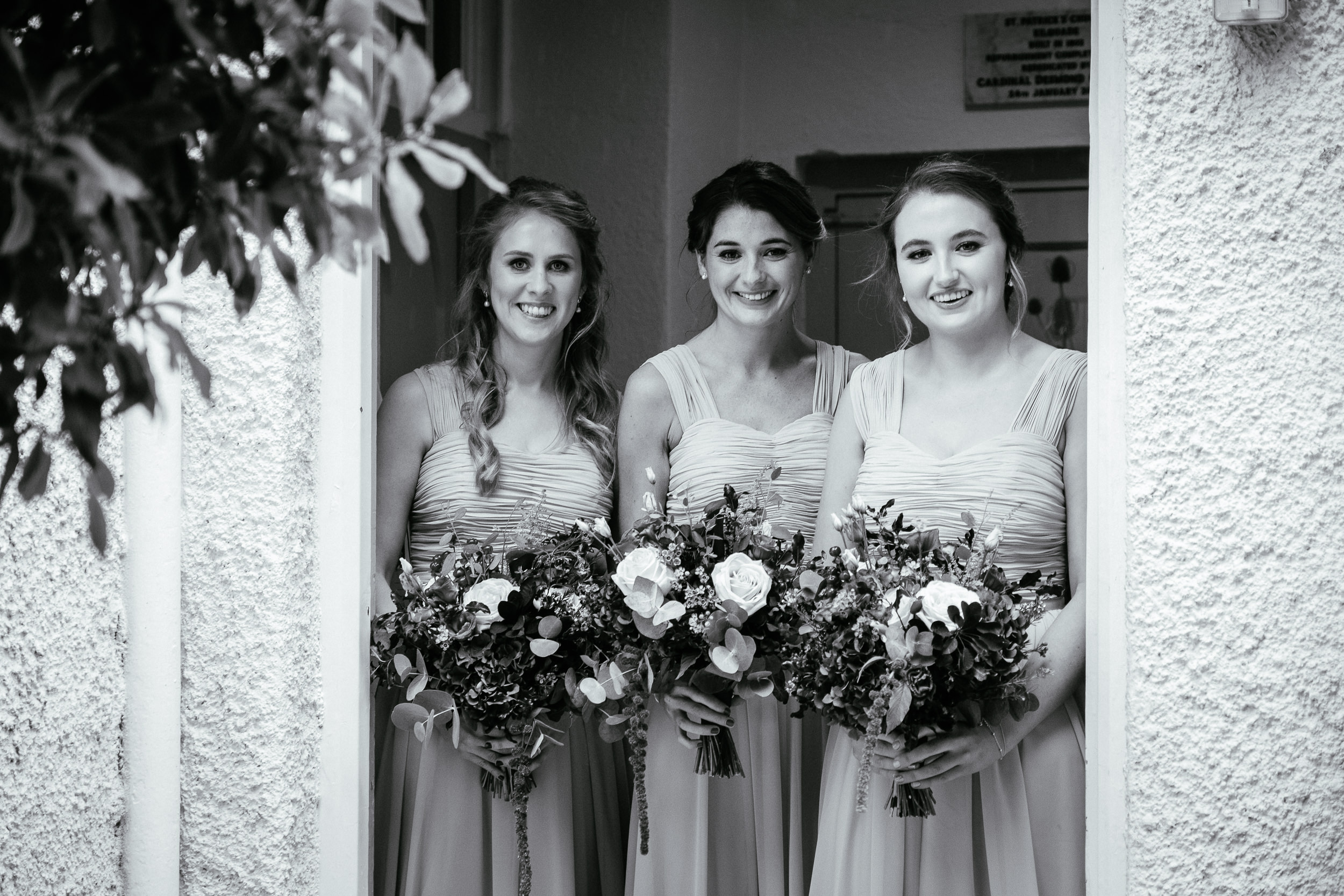 bridesmaids outside church