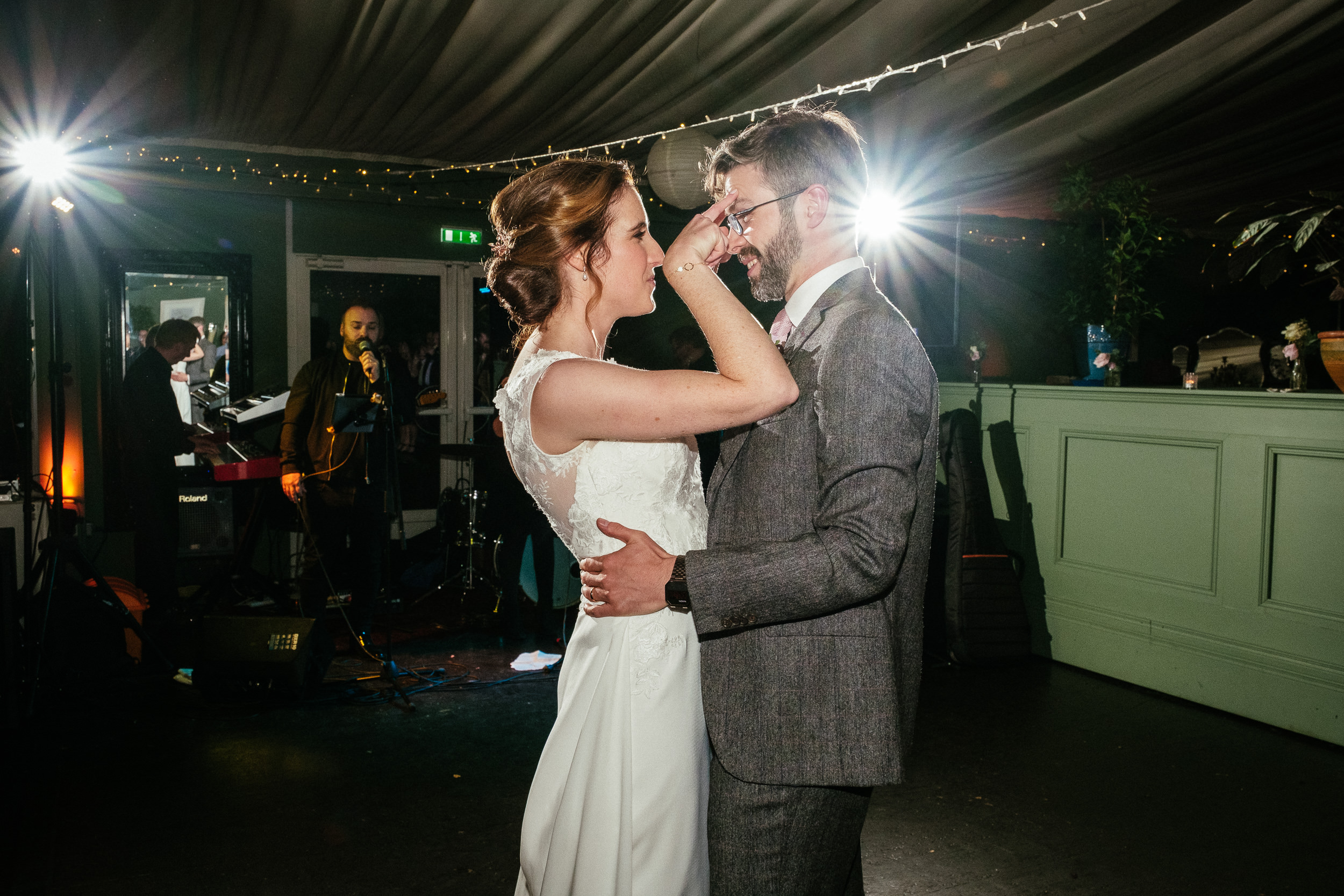 bride and groom laughing during their first dance at Tinakilly House Wicklow