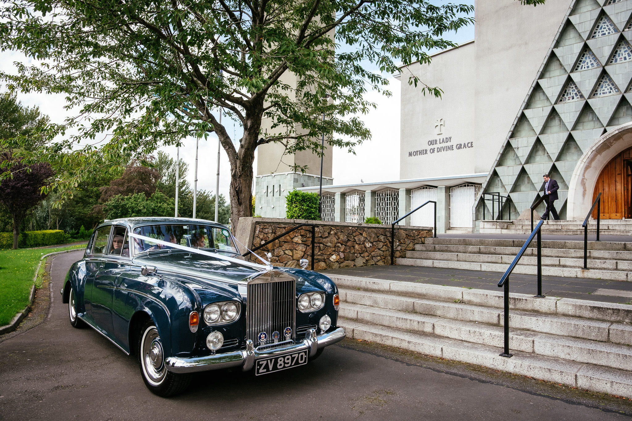 wedding car outside Our Lady Mother of Divine Grace Church in Raheny