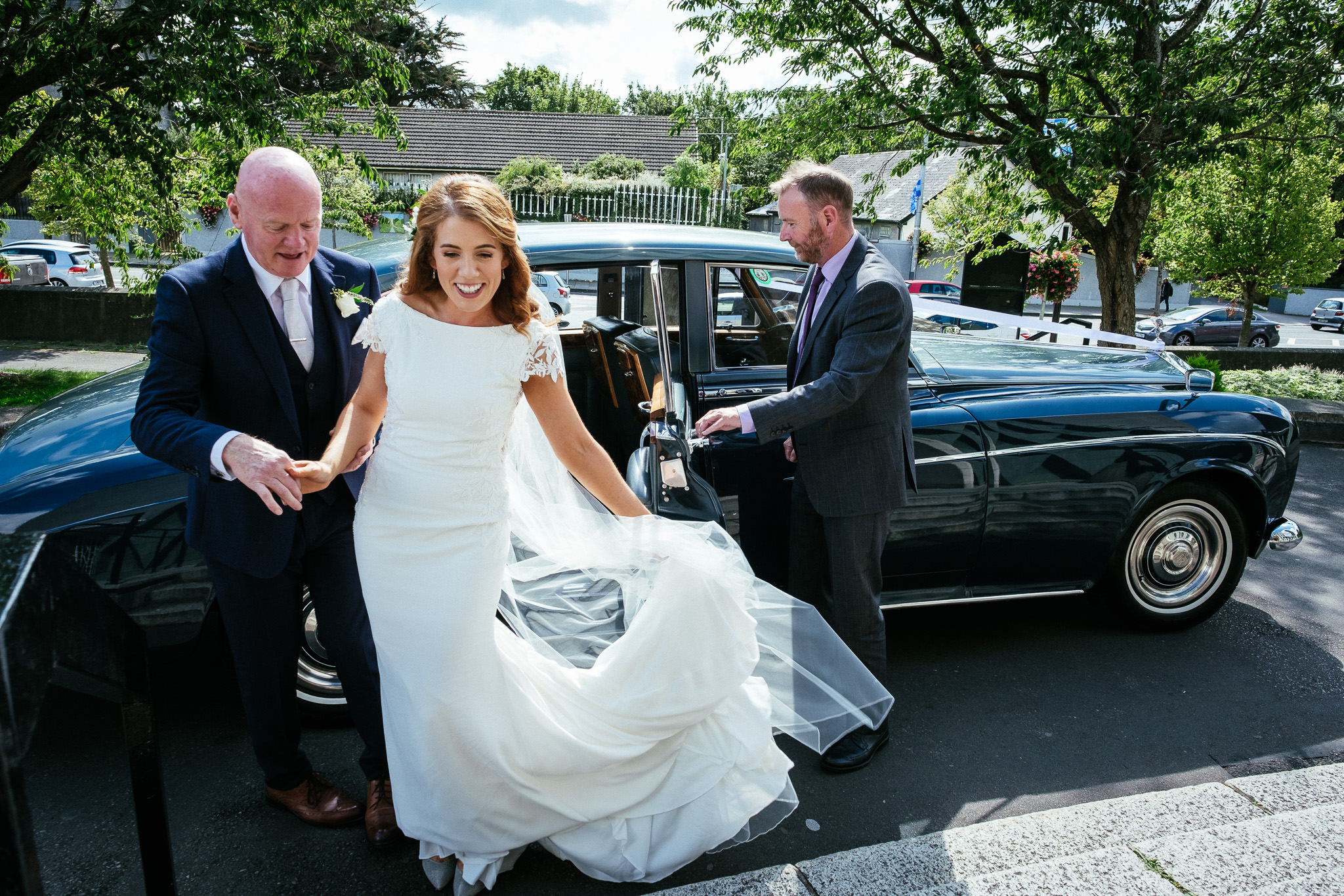 bride arriving at Our Lady Mother of Divine Grace Church in Raheny
