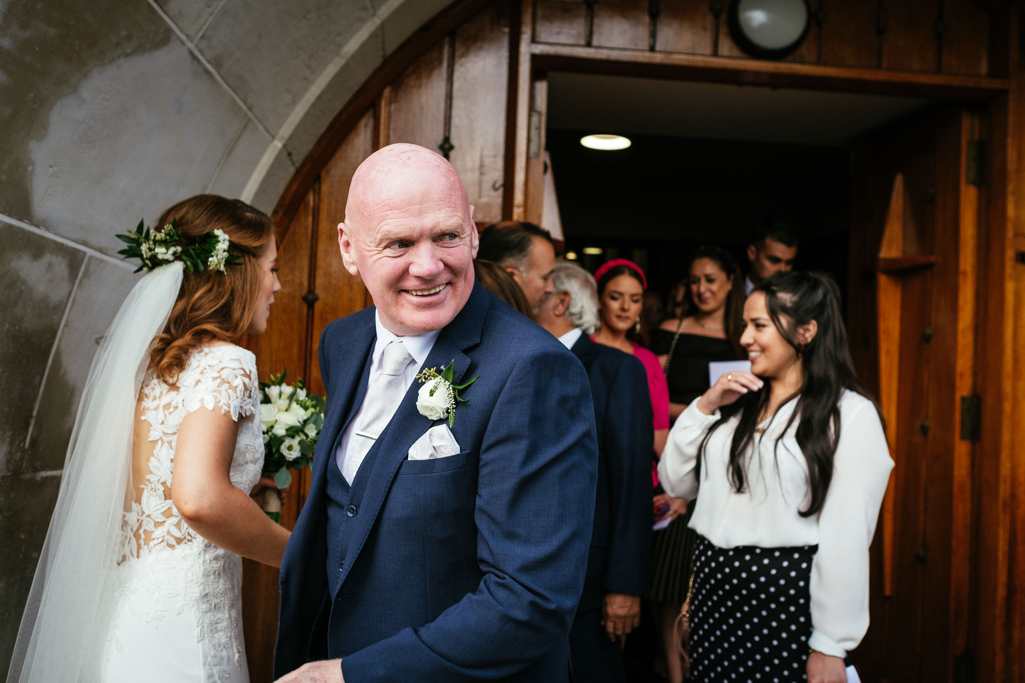 father of the bride at Our Lady Mother of Divine Grace Church in Raheny
