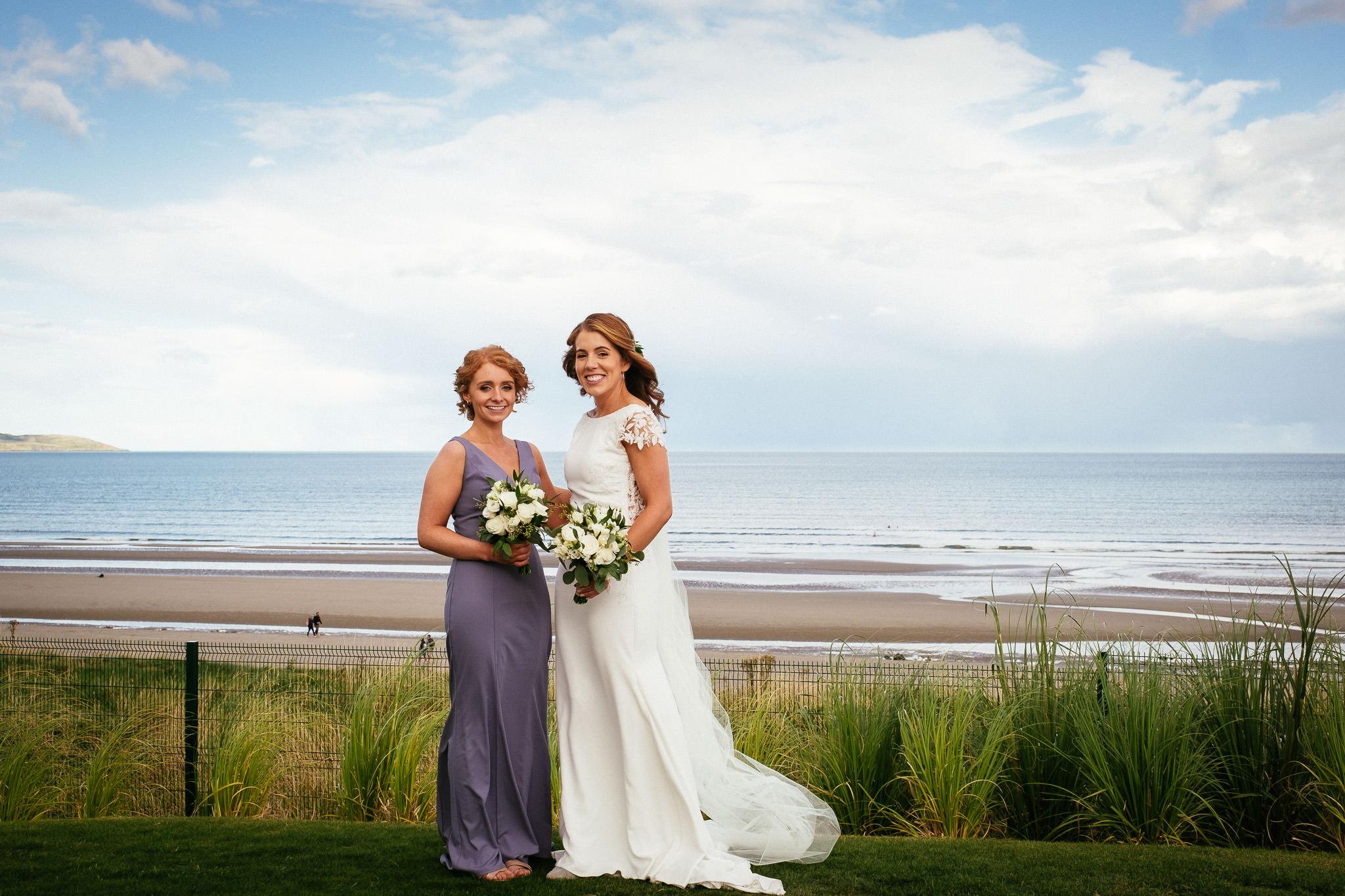 bride and bridesmaid at the Portmarnock Hotel Dublin