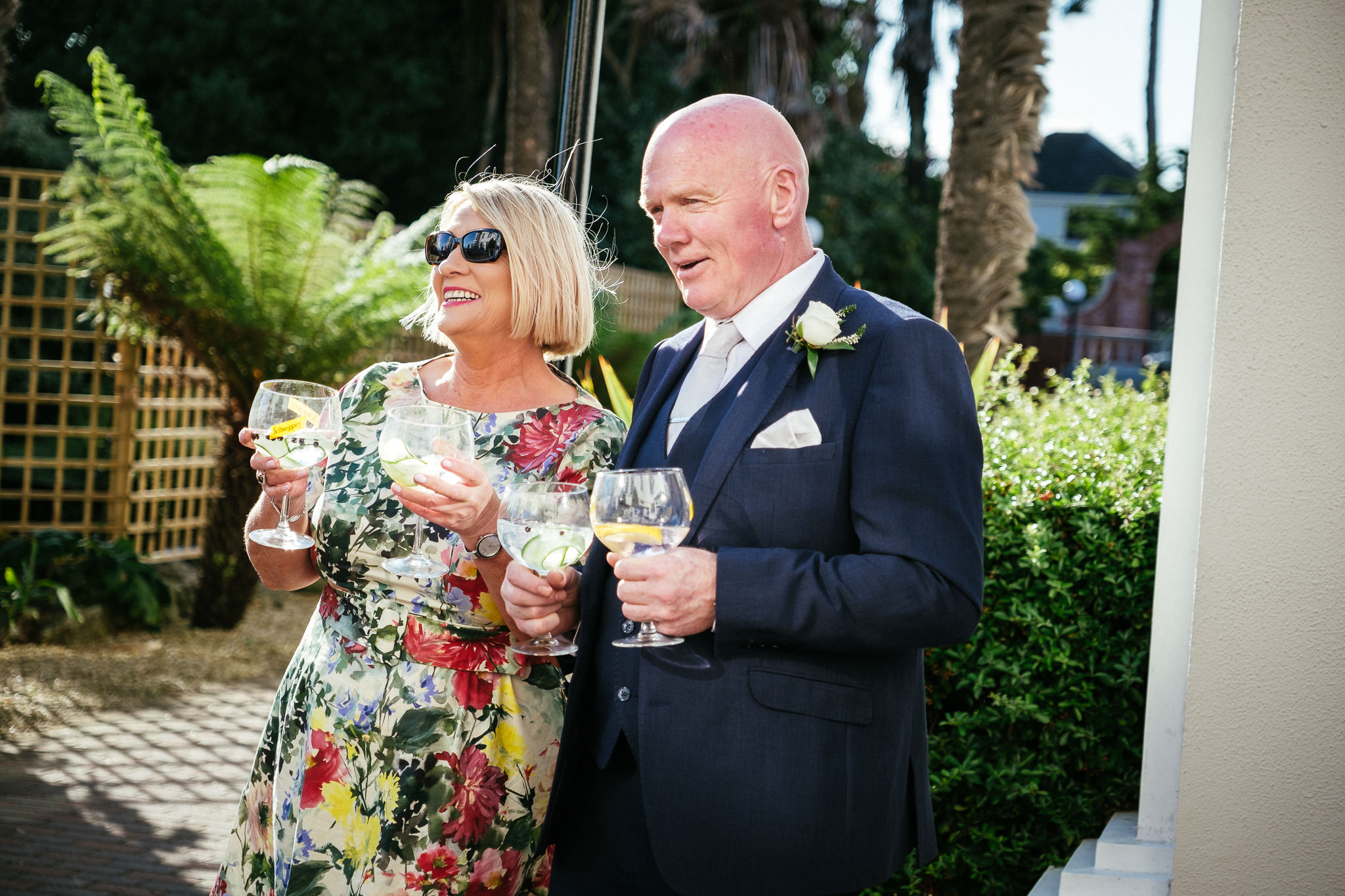 wedding guests drinking gin at the Portmarnock Hotel Dublin
