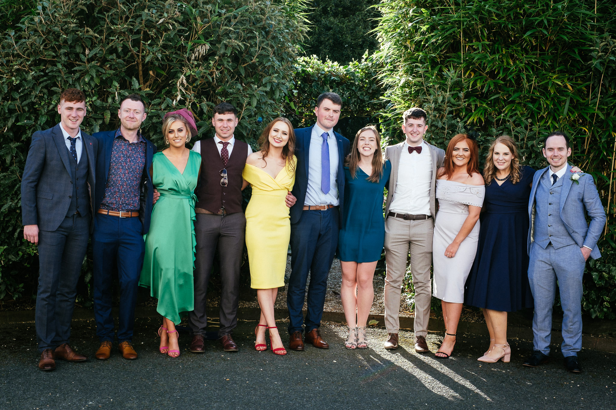 wedding guests posing for a photo at the Portmarnock Hotel Dublin