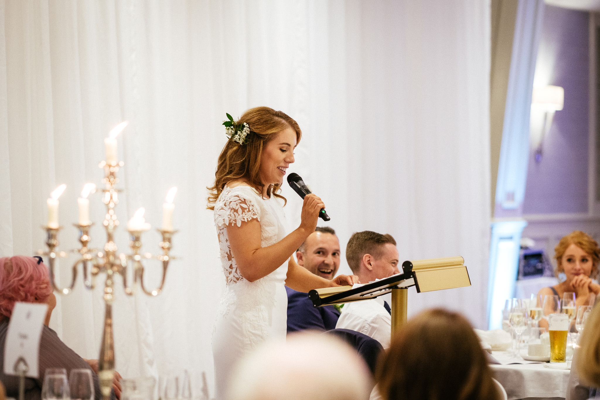 bride making a speech at her portmarnock hotel wedding