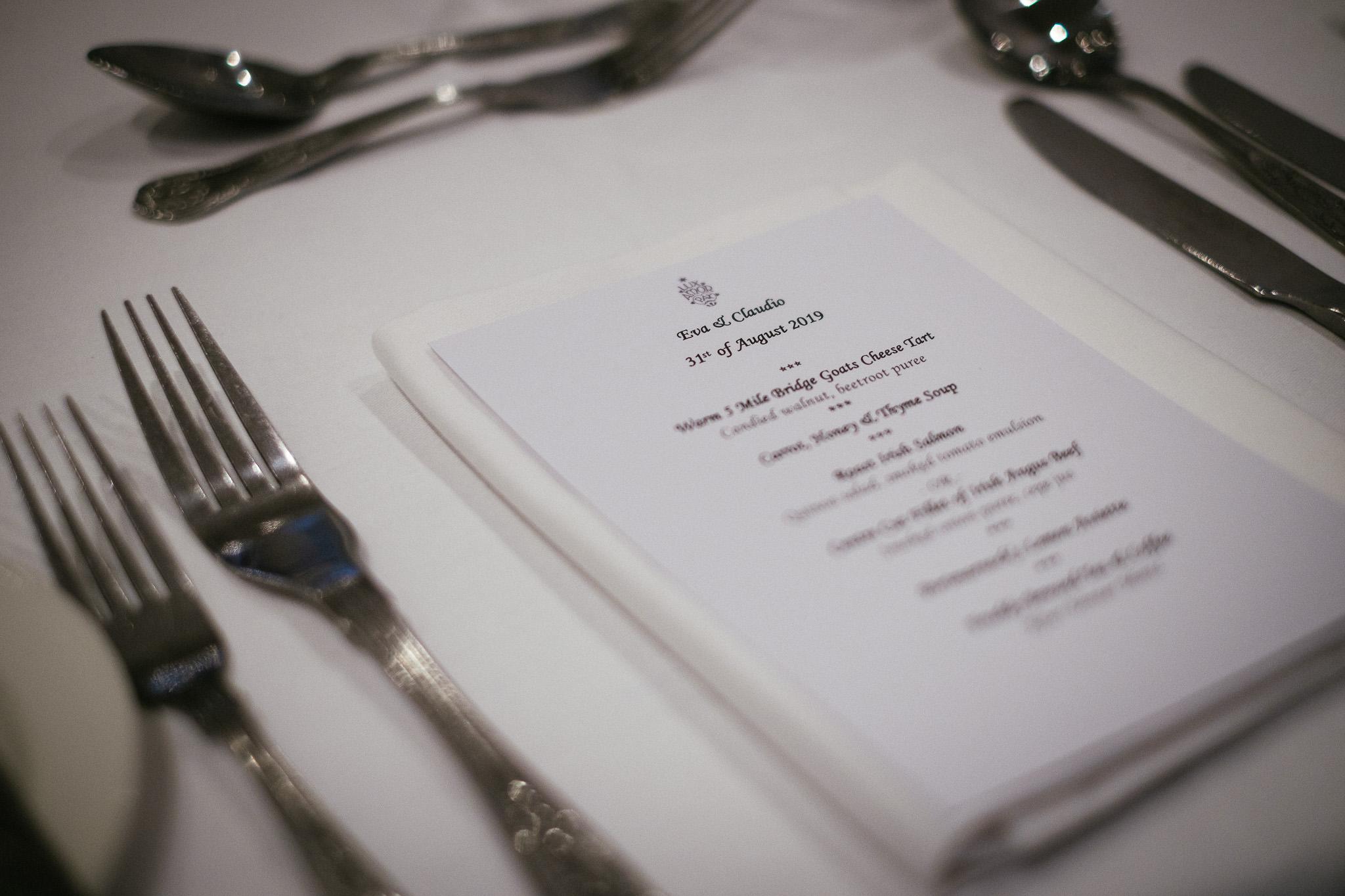 food menu for a room setup for a Portmarnock Hotel Wedding